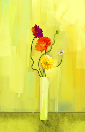 vase: Abstract oil painting of spring flower.