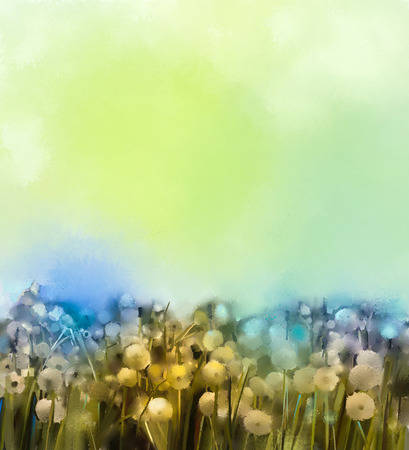 spring summer: Abstract oil painting white flowers field in soft color. Stock Photo