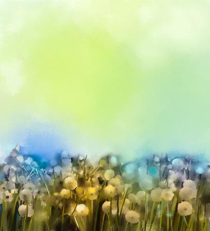 campo de flores: campo Resumen flores blancas en la pintura al óleo de colores suaves. Foto de archivo