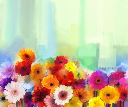-黄色、赤、ピンク色の花の静物画の油絵。