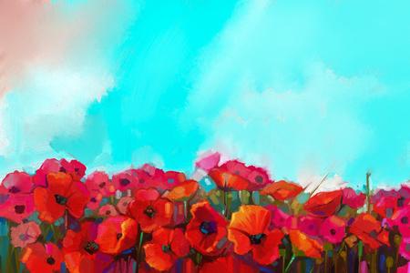 pintura abstracta: colorida flor de amapola roja en los prados.