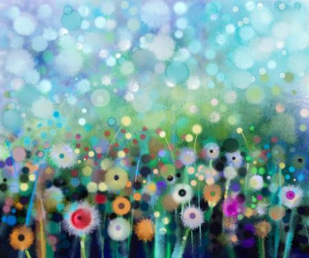 추상 꽃 수채화 그림.