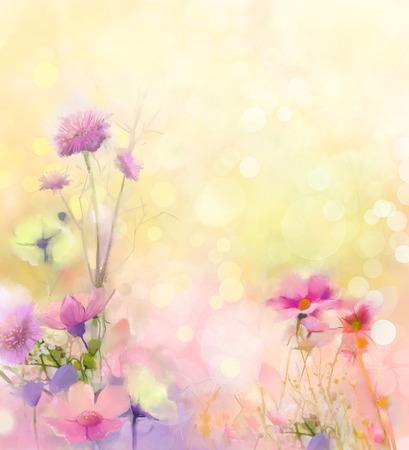 campo de flores: Pintura al �leo flores naturaleza hierba. Foto de archivo