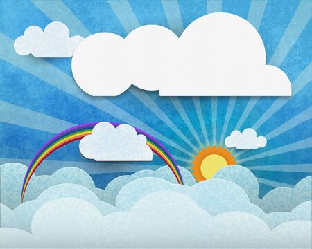 cloud scape:  White paper cloud with space for design or content. Cloud scape, Spring seasonal nature background
