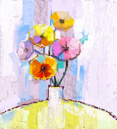 spring flower: Abstract oil painting of spring flower.