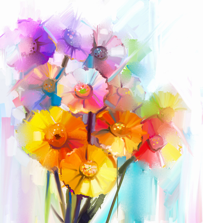 acrylic: Abstract oil painting of spring flower.