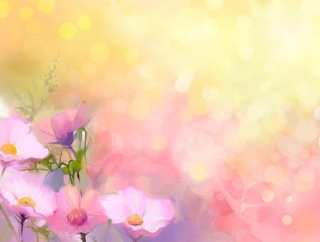 colores pastel: Pintura al óleo flores naturaleza hierba. Foto de archivo