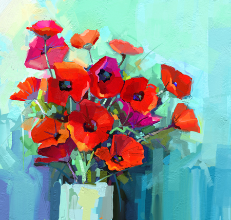 amapola: Pintura al óleo - Bodegón de flores de color rojo y rosa. Ramo colorido de las flores de amapola en el florero. Color de fondo verde y azul. Pintura de la mano estilo impresionista floral.