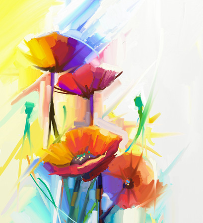 봄 꽃의 추상 유화. 노란색, 분홍색, 붉은 양 귀 비의 아직도 인생. 빛, 노란색, 녹색, 파란색 배경의 화려한 꽃다발 꽃. 손으로 그린 꽃 인상파 스타