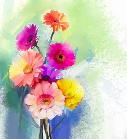 mazzo di fiori: Pittura a olio astratta del fiore di primavera. Still life di giallo, rosa e gerbera rosso. Fiori colorati bouquet con sfondo verde chiaro-colore blu. Dipinto a mano floreale stile impressionista moderno