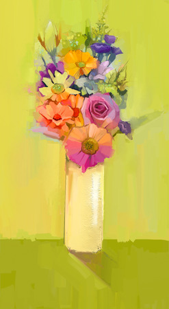 Still life of white, yellow and red color flowers .Oil painting a bouquet of rose,daisy and gerbera flowers in vase on green color background. Hand Painted floral modern Impressionist style