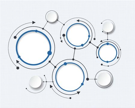 テクノロジー: 3 d ペーパー サークルと空白のコンテンツ、インフォ グラフィック テンプレート、コミュニケーション、ビジネス、ネットワーク、web デザインの抽象的な分子。