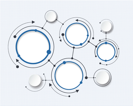 tecnología: Moléculas abstractas con 3d círculo de papel y el espacio en blanco para su contenido, plantilla infografía, la comunicación, los negocios, la red y el diseño web. Ilustración vectorial concepto de la tecnología de medios sociales