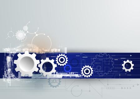 Vector tecnología futurista, blanco 3d rueda de engranaje de papel sobre la placa de circuito. Ilustración de alta tecnología, la ingeniería, el concepto de telecomunicaciones digital. Con espacio para el contenido, plantilla web, presentación tech negocio