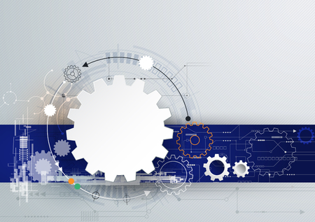 telecom: Vector illustration gear wheel and circuit board, Hi-tech digital technology and engineering, digital telecom technology concept. Abstract futuristic on light gray color background Illustration