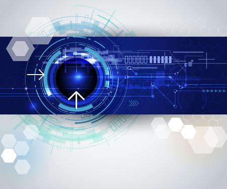 technologie: Vektorové ilustrace Abstraktní hi-tech, moderní elektronické technologie na modrém pozadí s prázdný prostor pro váš obsah, šablony, komunikace, sítě, web design, obchodní tech prezentace