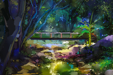 Oil painting landscape with wooden bridge over creek in forest. Hand painted Colorful summer nature forest with yellow and green- blue color Imagens