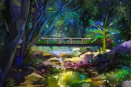 Olieverfschilderijlandschap met houten brug over kreek in bos. Handgeschilderde kleurrijke zomer aard bos met gele en groen-blauwe kleur