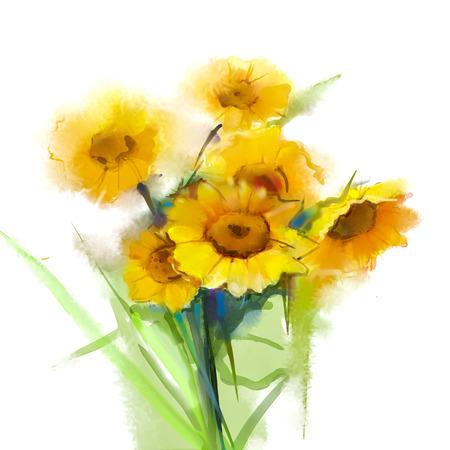 Sun flower: Ölgemälde Stillleben gelbe Sonnenblumen mit grünem Blatt auf weißem Hintergrund. Handgemalte Blumen in den weichen und Unschärfe-Stil. Sommer - Frühling Blumen Natur Hintergrund