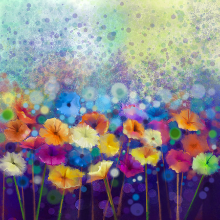 Abstract floral watercolor painting. Hand paint White, Yellow, Pink and Red color of daisy- gerbera flowers in soft color on blue- green color background.Spring flower seasonal nature background. Stock Photo
