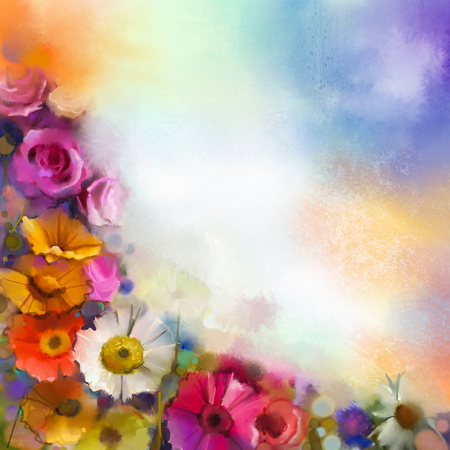 Abstract floral watercolor painting. Hand paint White, Yellow, Pink and Red color of daisy- gerbera and rose flowers in soft color on soft blue- green color background.Spring flower seasonal nature Stock Photo