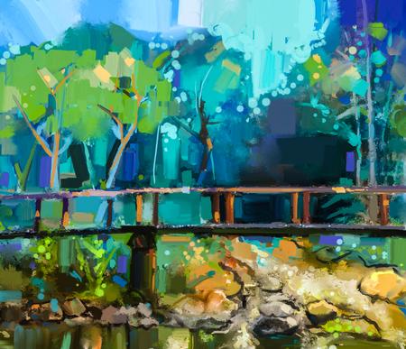 pastel colors: Paisaje pintura al óleo con el puente de madera sobre el arroyo en el bosque. Pintado a mano colorido bosque de la naturaleza de verano con el color azul amarillo y verde-