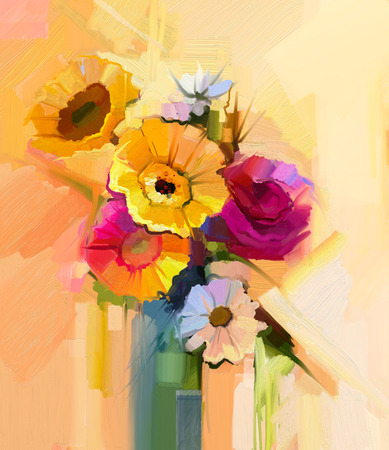 still life: Oil painting still life of white, yellow and red flower. Hand Painted floral Gerbera, Daisy, sunflower and rose with green leaf bouquet. Spring flowers in vase