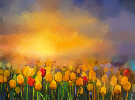 landscape flowers: Oil painting yellow and red Tulips flowers field. Landscape - Flowers field at sunset with orange and purple sky. Spring flowers nature background