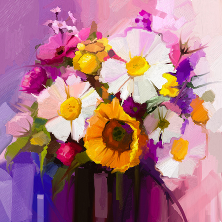 Oil painting still life of white, yellow and red flower. Hand Painted floral Gerbera, Daisy and sunflower and green leaf bouquet. Spring flowers in vase Standard-Bild