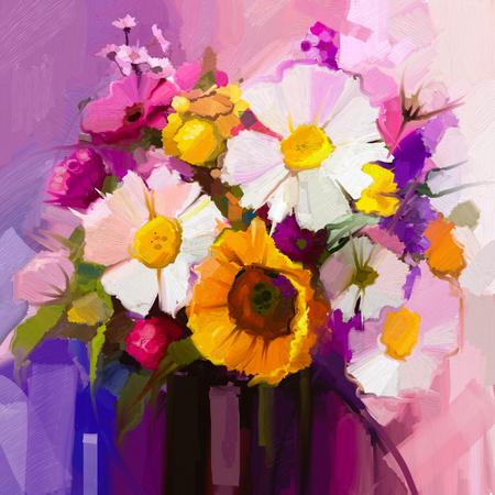 bouquet fleur: Peinture à l'huile encore de vie de blanc, jaune et rouge fleur. Peint à la main Gerbera floral, marguerite et le tournesol et vert bouquet de feuilles. Fleurs de printemps en vase Banque d'images