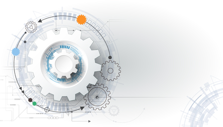 engineering design: Vector futuristic technology, 3d white paper gear wheel on circuit board. Illustration hi-tech, engineering, digital telecoms concept. With space for content, web- template, business tech presentation