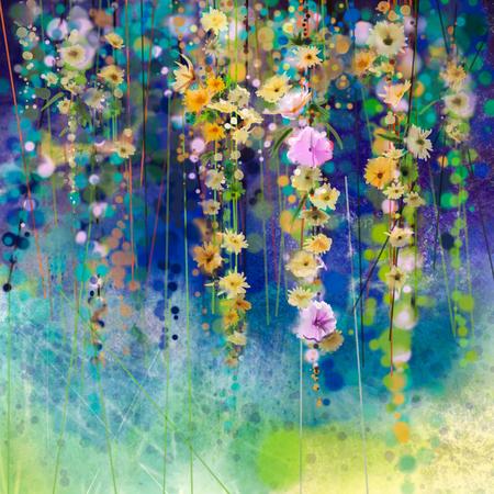 Abstrakte Blumenaquarellmalerei. Hand bemalt Weiß, Gelb und Rot blüht in weichen Farben auf blauem Hintergrund grüne Farbe. Ivy Blumen im Baumpark. Frühlingsblume saisonale Natur Hintergrund
