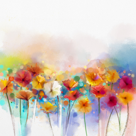 Abstract floral watercolor painting. Hand paint White, Yellow, Pink and Red color of daisy- gerbera flowers in soft color on blue- green color background.Spring flower seasonal nature background Фото со стока