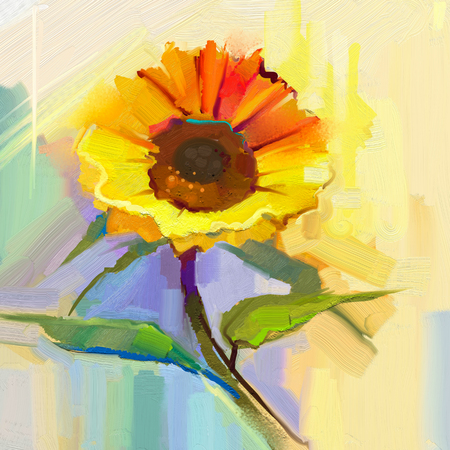 Oil painting a single yellow sunflower with green leaves. Hand painted Still life flower in soft yellow, blue green color background.