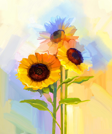 Oil painting yellow sunflowers with green leaves. Hand painted Still life flower in soft yellow, blue green color background.