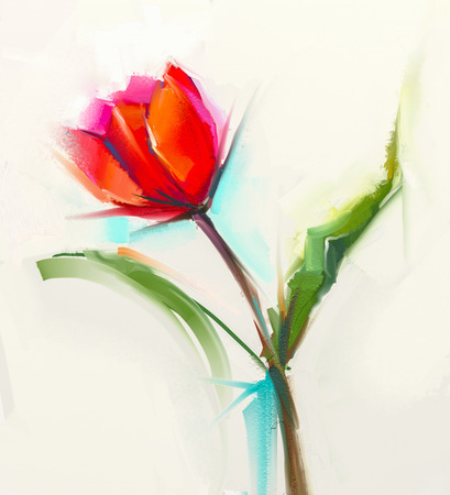 still life flowers: Oil painting a single Red tulip flower with green leaves. Hand painted Still life floral in soft color background.
