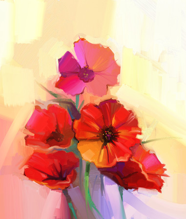 still life flowers: Oil painting red poppy flowers. Flower paint in soft color and blur style, Soft yellow and purple background. Spring floral seasonal nature background