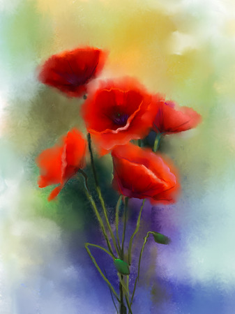 絵画水彩画赤いケシ花。柔らかい色にペイントを花し、スタイル、柔らかい緑と紫、青背景をぼかし。春、花の季節の自然の背景 写真素材