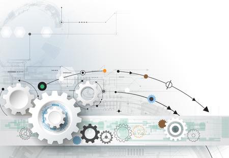 기술: 벡터 일러스트 레이 션 기어 휠, 육각형 및 회로 보드, 첨단 디지털 기술과 공학, 디지털 통신 기술 개념. 라이트 블루 색상 배경에 추상 미래