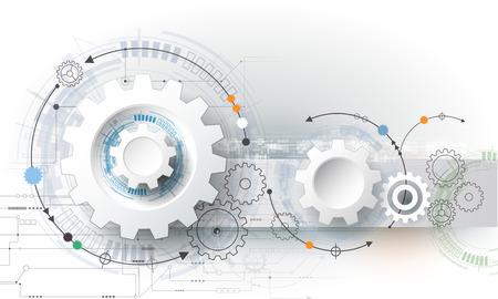 Vector ilustración rueda de engranaje, hexágonos y placa de circuito, la tecnología digital de alta tecnología y la ingeniería, digital concepto de la tecnología de las telecomunicaciones. Futurista abstracto en fondo azul claro del color
