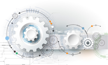 circuito integrado: Vector ilustración rueda de engranaje, hexágonos y placa de circuito, la tecnología digital de alta tecnología y la ingeniería, digital concepto de la tecnología de las telecomunicaciones. Futurista abstracto en fondo azul claro del color Vectores