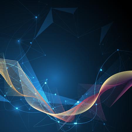 図抽象的な分子と 3 D サークル、ライン、幾何学的、多角形、三角形のパターンとメッシュします。青色の背景のベクトル デザイン通信技術。未来