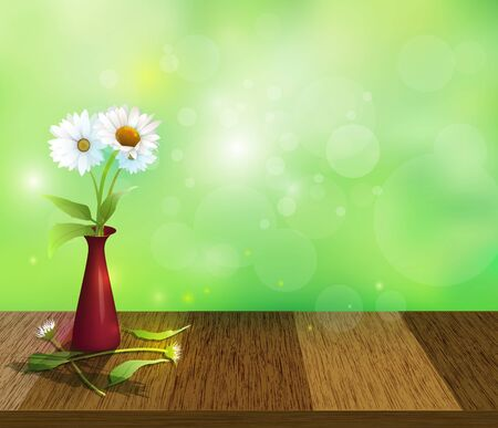Vector illustration white Gerbera- Daisy flowers in red vase on Wood table top. Bokeh effect on blue-green pastel colorful background. Blank space for content or your design Illustration