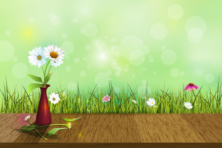 daisy vector: Vector white daisy flower in red vase on wood floor. Green grass and echinacea- purple coneflower and white wildflower in soft green with bokeh background. Blank space for content or your design