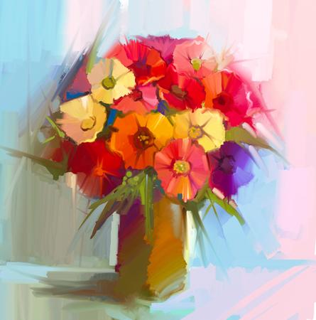 春の花の抽象画の油絵。花束、黄色、赤の色の植物の芸術的な静物画。ガーベラ、デイジーと花瓶に緑の葉。柔らかいイエロー ブルーの背景。ハン