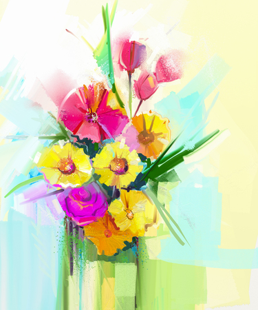 Still life of white color flowers with soft pink and purple abstract art oil painting of spring flower artistic still life of bouquet yellow mightylinksfo