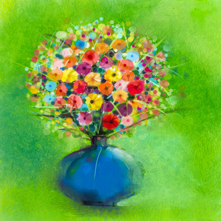 gerbera daisy: Abstract art watercolor painting of spring flower. Artistic still life of bouquet,yellow,red color flora. Gerbera,daisy and green leaf in blue vase. Green background. Hand Painted floral Impressionist