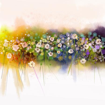 花の水彩画。背景色黄色、緑、青の軟水の水で功妙な手塗料白い花。草原で花絵を抽象化します。春、季節の自然の背景 写真素材