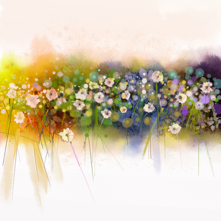 Floral watercolor painting. Artistic hand paint white flowers on soft yellow, green, blue water color background. Abstract art flower paintings in meadows. Spring seasonal nature background Stockfoto