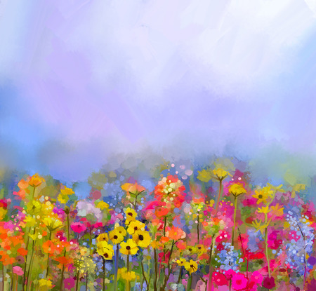 flower meadow: Abstract art oil painting of summer-spring flowers. Cornflower, daisy flower in fields. Meadow landscape with wildflower, Yellow-red Sky color background. Hand Paint floral Impressionist style